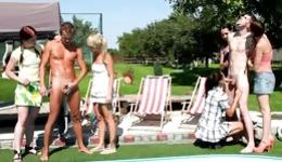 Stunning outdoor sex with handsome chaps and very smutty girls