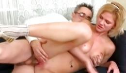 Blonde round tittied horny bitch is swallowing the heavy penis