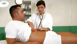 Hot nurse is getting pounded from behind and is checking out a guy