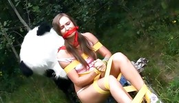 Catchy hot blonde goddess having a very hot intercourse with new panda toy