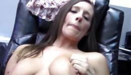 Kinky bitch is getting bend over and pounded right on the office table
