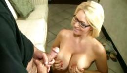 You will be glad to see this extremely nice blonde licking the penis of her lover