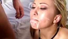 Sweet blonde is getting her boobs massaged and face cum covered dirty